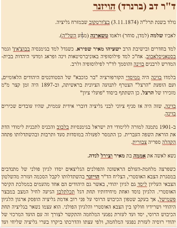 דב ברנרד הויזנר מתוך אנציקלופדיה תדהר 1