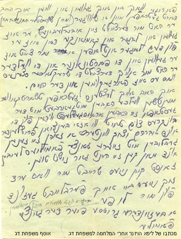 מכתב של ליפא הויזנר למשפחת דג אחרי המלחמה צד שני