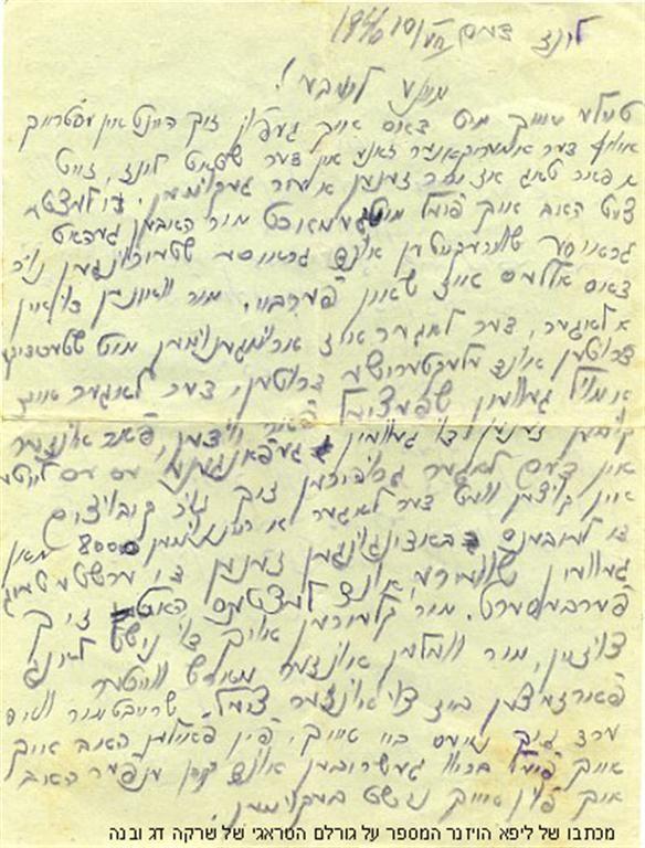 מכתב של ליפא הויזנר למשפחת דג אחרי המלחמה