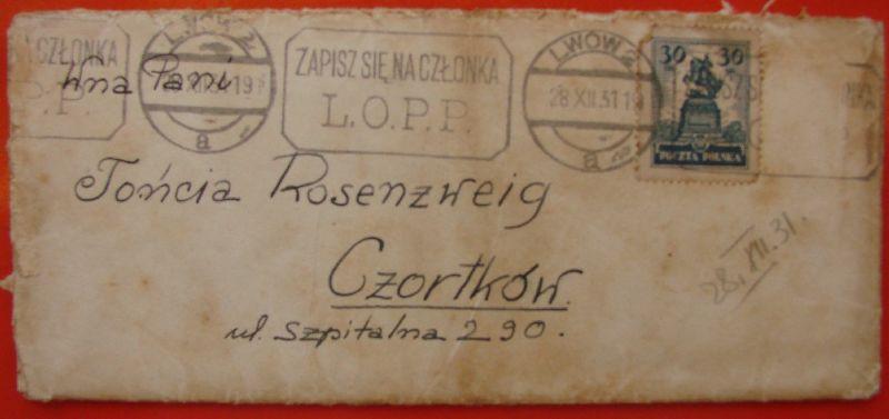מעטפה טוני רוזנצוויג שפיטלנה 290 Czortkow