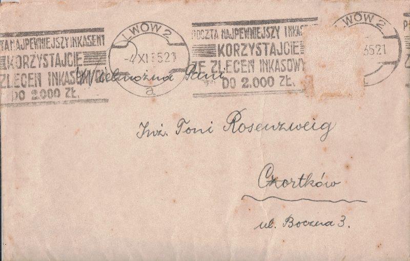 מעטפה לטוני רוזנצוויג בוצנה 3 Czortkow