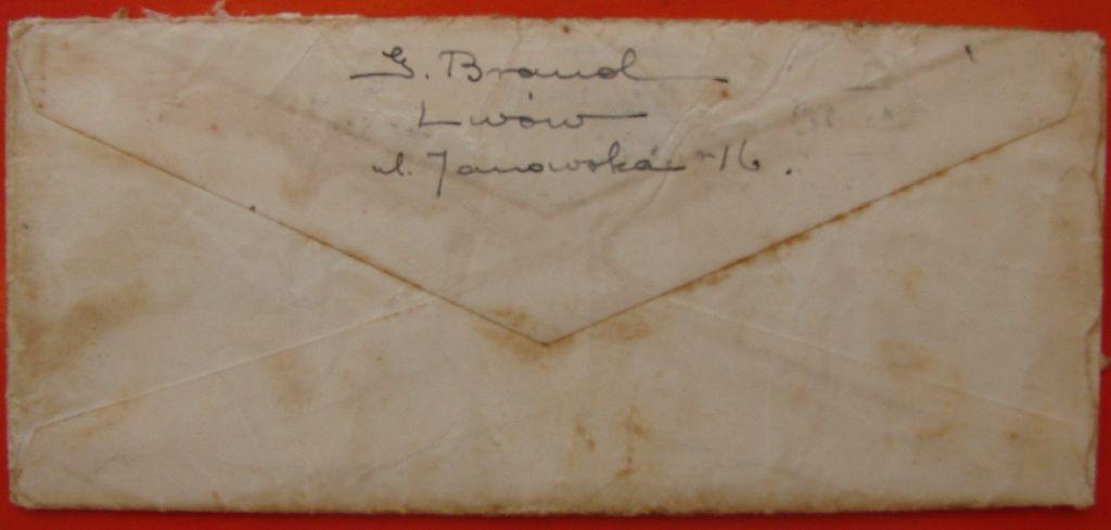 מעטפה מכתב לטוני רוזנצוויג צד אחורי