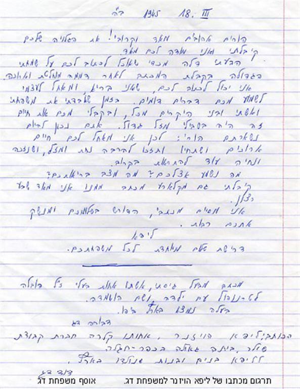 תרגום מכתב ליפא הויזנר למשפחת דג אחרי המלחמה