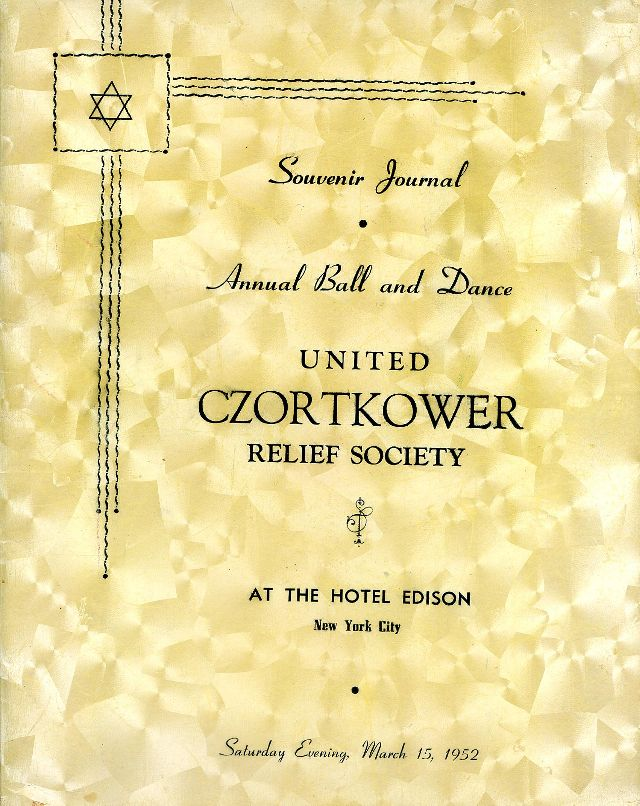 SOUVENIR JURNAL UNITED CZORTKOWER RELIFE SOCIETY 1952 USA - 0001