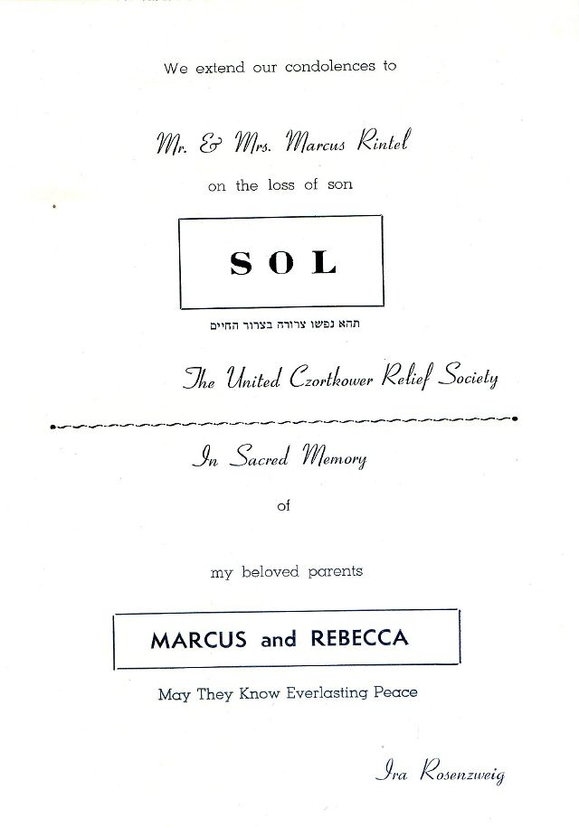 SOUVENIR JURNAL UNITED CZORTKOWER RELIFE SOCIETY 1952 USA - 0026