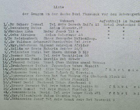 רשימת העדים המוזמנים להעיד בהסן בגרמניה נגד פול טומנק Thomanek אוסף יד ושם