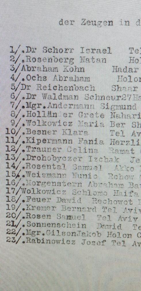 רשימת עדים נגד פושע מלחמה פול טומנק. Paul Thomanek