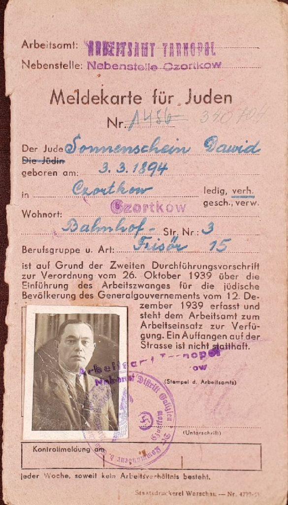 MELDEKARTE כרטיס עבודה ניתן לדויד זוננשיין 1941. אוסף יסמינה גולדשטיין