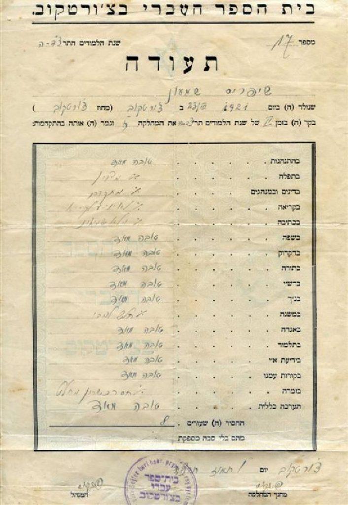 תעודת בית ספר עברי של שמעון שיפריס
